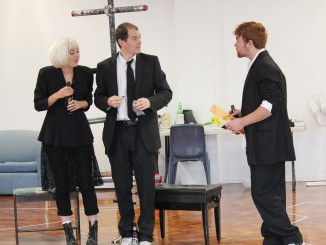 (L-R) Virginia Frankovich (Katie), Kip Chapman (Siggy) and Nic Sampson (Elvis) in depths of rehearsing Black Confetti.