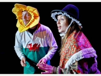 Buddug James Jones and Max Mackintosh embodying their 'Welshness' on stage.  Photo courtesy of the Buddug James Jones Collective